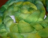 4 oz Blue/Green/Yellow Hand Painted Roving from Creative Colors Wool