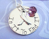 Personalized Jewelry - Cancer Awareness Necklace - Sterling Silver - In It To End It