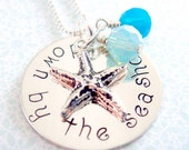 Starfish Necklace - Hand Stamped Jewelry -  Sterling Silver