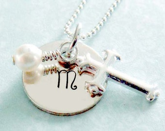 First Communion Necklace -  Hand Stamped Jewelry - Personalized - Sterling Silver Cross Charm