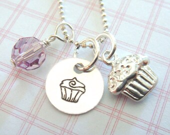 Cupcake Necklace - Hand Stamped Jewelry - Sterling Silver Cupcake Charm