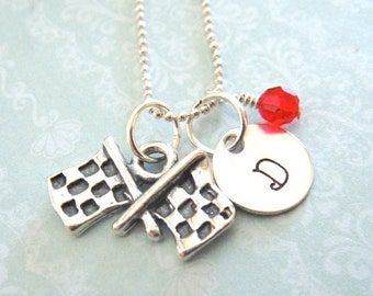 Racing Flag Necklace - Hand Stamped Jewelry - Checkered Flag Charm