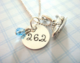 Marathon Necklace - Hand Stamped Jewelry - Sterling Silver Sneaker Charm