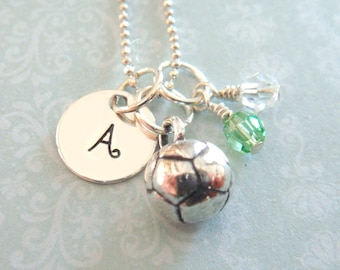 Soccer Necklace with Hand Stamped Initial Disc // gifts for her // soccer lover // sports necklace // soccer gift