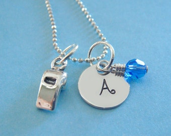 Coach Hand Stamped Necklace - Hand Stamped Jewelry - Sterling Silver Whistle Charm