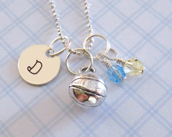Basketball Necklace - Hand Stamped Jewelry - Sterling Silver Basketball Charm