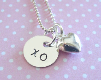 Valentine's Day Heart Necklace - Hand Stamped Jewelry - Heart Charm