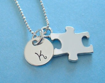 Autism Necklace - Hand Stamped Jewelry - Sterling Silver