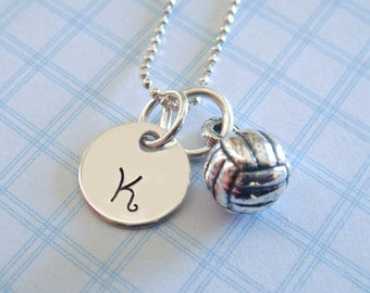 Volleyball Necklace - Hand Stamped Jewelry - Sterling Silver