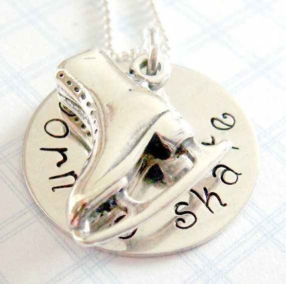 Figure Skater Necklace - Hand Stamped Jewelry - Sterling Silver