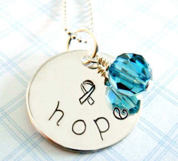 Ovarian Cancer Awareness Necklace - Hand Stamped Jewelry - Sterling Silver -  Teal