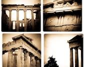 Stone Coaster Set - Athens Greece Acropolis