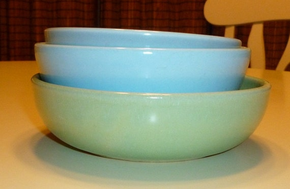 INSTANT COLLECTION Mid Century Mod Pottery Soup or Cereal Bowl Lot of 3 Russel Wright & LaSolana Green Blue Aqua Turquoise