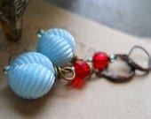 Beaded Earrings - Vintage Beads in Blue and Red