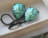 Vintage Glass Earrings - Iridescent Green - Rare Glass - Gems Dangle Earrings - Retro Earrings - Teardrop