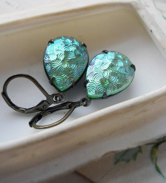 Vintage Glass Earrings - Iridescent Green - Rare Glass - Gems Dangle Earrings - Retro Earrings - Teardrop