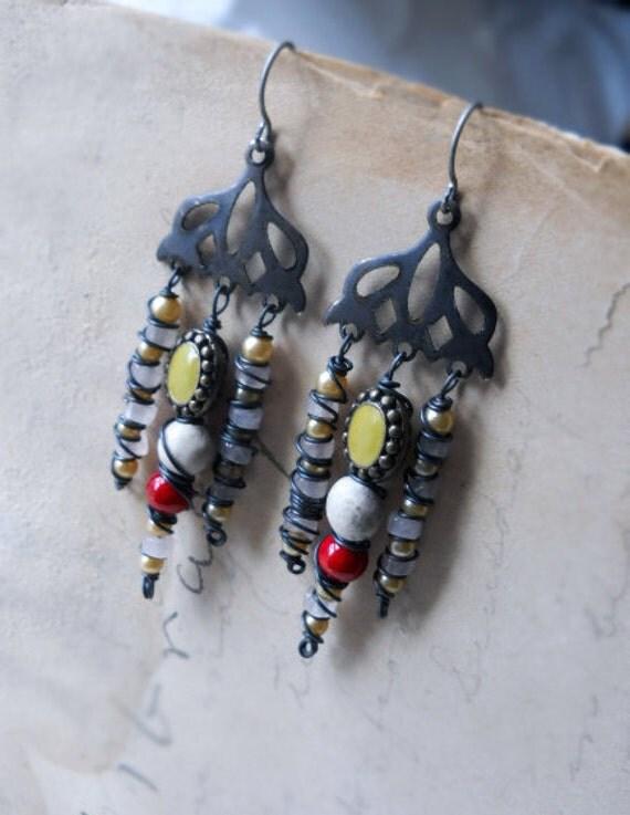 SALE - Chandelier Earrings - Beaded Earrings - Rose Quartz, Vintage Glass Pearls, Polymer Clay, Red, White. Pink - Rustic Earrings