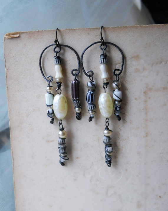 Chandelier Earrings - Rustic Beaded Earrings - Vintage Glass Pearls, Bone, Cane Glass, Labradorite, Steel - Assemblage Earrings