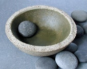Small Concrete Bowl With Olive Wash