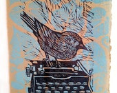 Come down from there - original block print