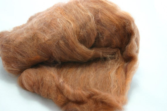 NEW wool batting, hand blended dyed merino wool roving- fall spicy orange blend