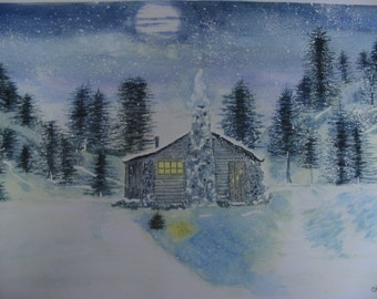 Little Log Cabin The Moon and Snow Watercolor Print