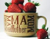 Vintage Mom Mug in Speckled Brown Ceramic, Extra Large Size