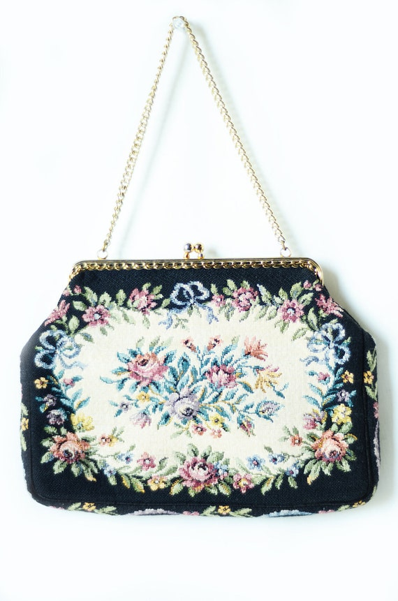 Vintage Tapestry Purse in Black and Floral