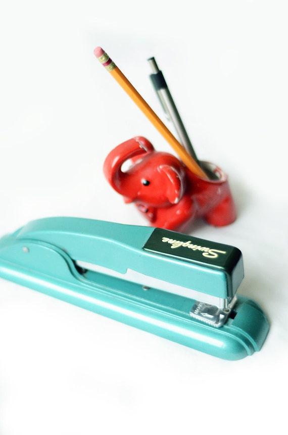 Vintage Metal Swingline Turquoise Stapler