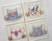 Blue Tea Cup Quilted Coasters (Set of 4)