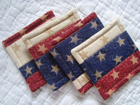 American Flag Quilted Coasters (Set of 4)