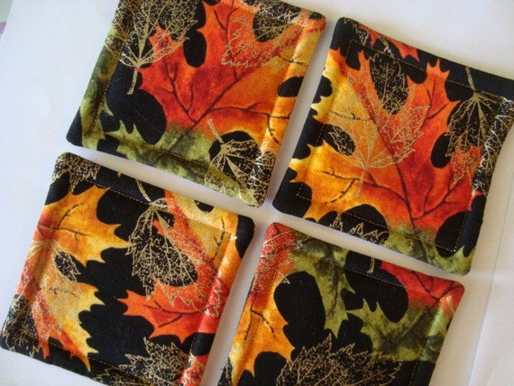 Fall Leaves Quilted Coasters (Set of 4)