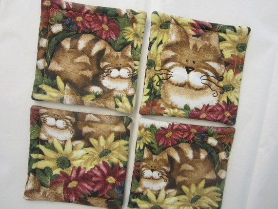 Cats In Hiding Quilted Coasters (Set of 4)