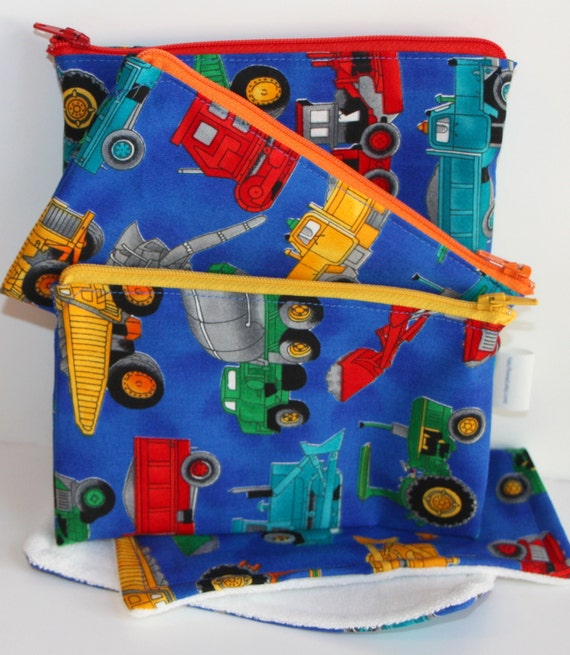 Set of Eco Friendly Reusable Zippered Sandwich and Snack Bags with Napkin - Construction Vehicles