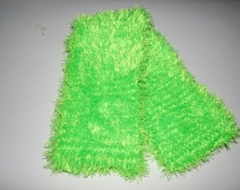 Fun and Fuzzy Florecent Green Scarf