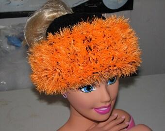 Ponytail hat florecent orange and black