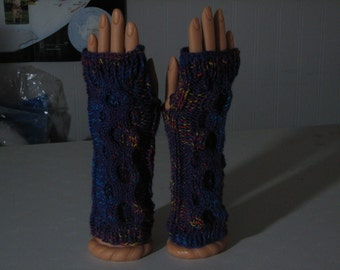 Fingerless gloves with donut cable purple jelly beanz