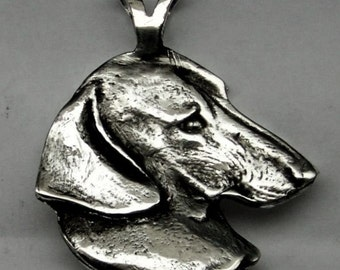 LARGE DACHSHUND DOG Pendant Sterling Silver Free Shipping