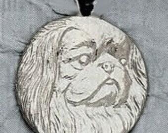 Large Pekinese Dog Pendant  Sterling Free Shipping