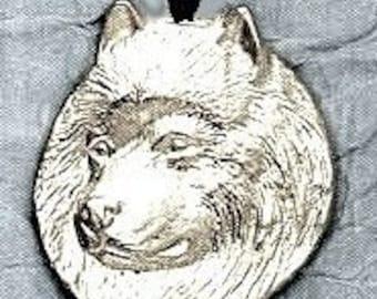Large Samoyed Dog Pendant  Sterling Free Shipping