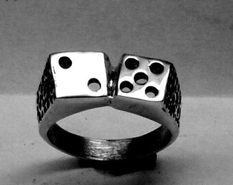 Dice Ring Lucky 7 Solid Sterling Silver Free Domestic Shipping
