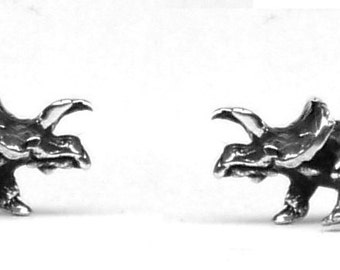 ZUNICERATOPS DINOSAUR Stud Earrings Sterling Silver Free Domestic Shipping