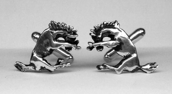 Mustang Horse Cufflinks in solid sterling silver Free Domestic Shipping