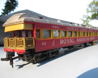 Circus Carnival Train 1960's HO Scale Observation Car 60 World's Largest Midway Royal American Shows  Tampa Florida Made in Italy RIVAROSSI