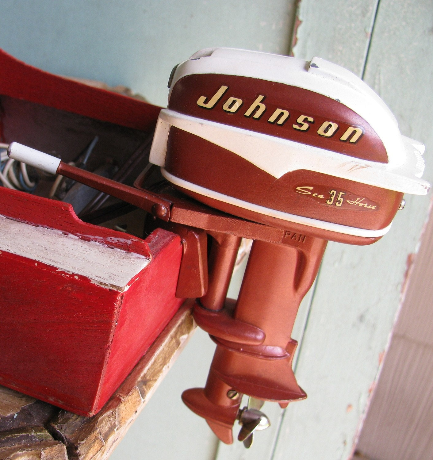 Electric Outboard Motor Kit: Antique 1957 Johnson 35 HP Sea Horse Toy Outboard Motor By K O