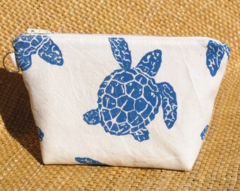 Blue Sea Turtle Canvas Zipper Bag/Clutch to Benefit Marine Discovery Center