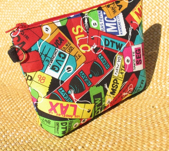 Baggage Tag Print Zipper Bag Travel Accessory