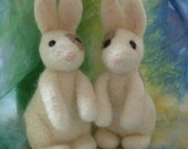 two needle felted bunnies--reserved for Julie