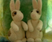 two needlefelted bunny figurines--reserved for Karen