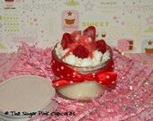 5 oz. Mini White cake n Strawberries cupcake in a Jar - Cute Bakery Soy Wax Candle